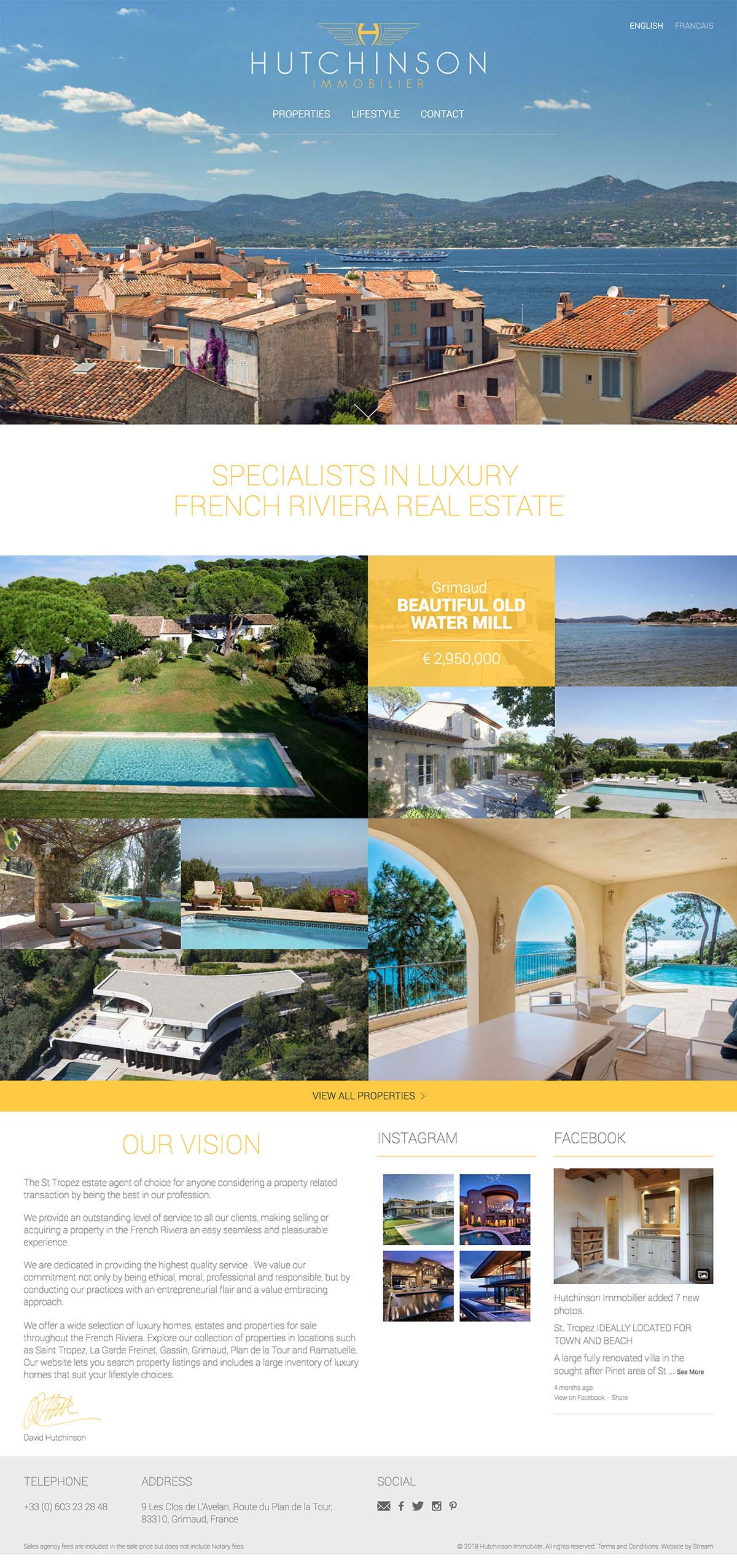 Hutchinson Immobilier luxury real estate website