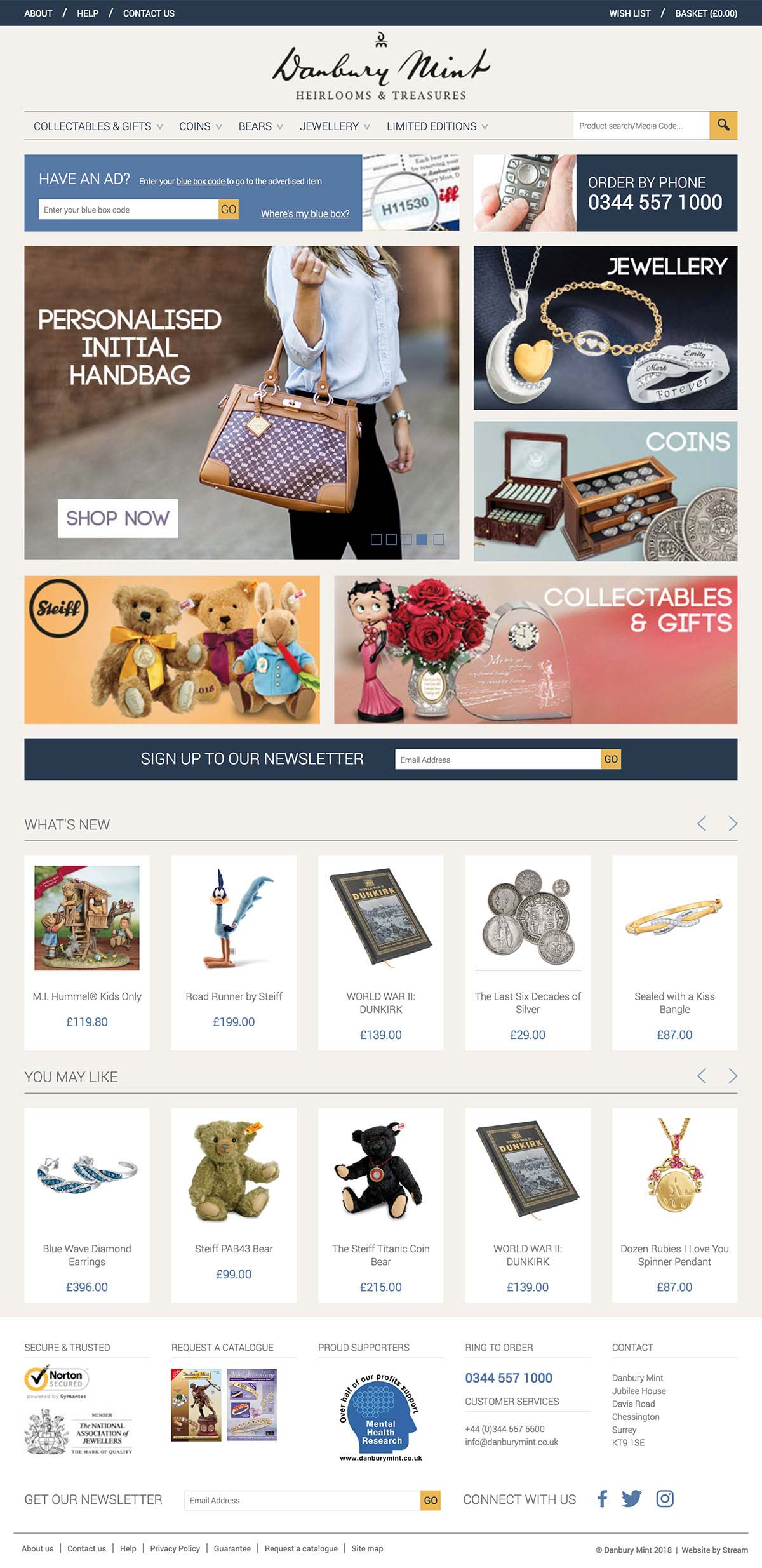 ecommerce website homepage for Danbury Mint