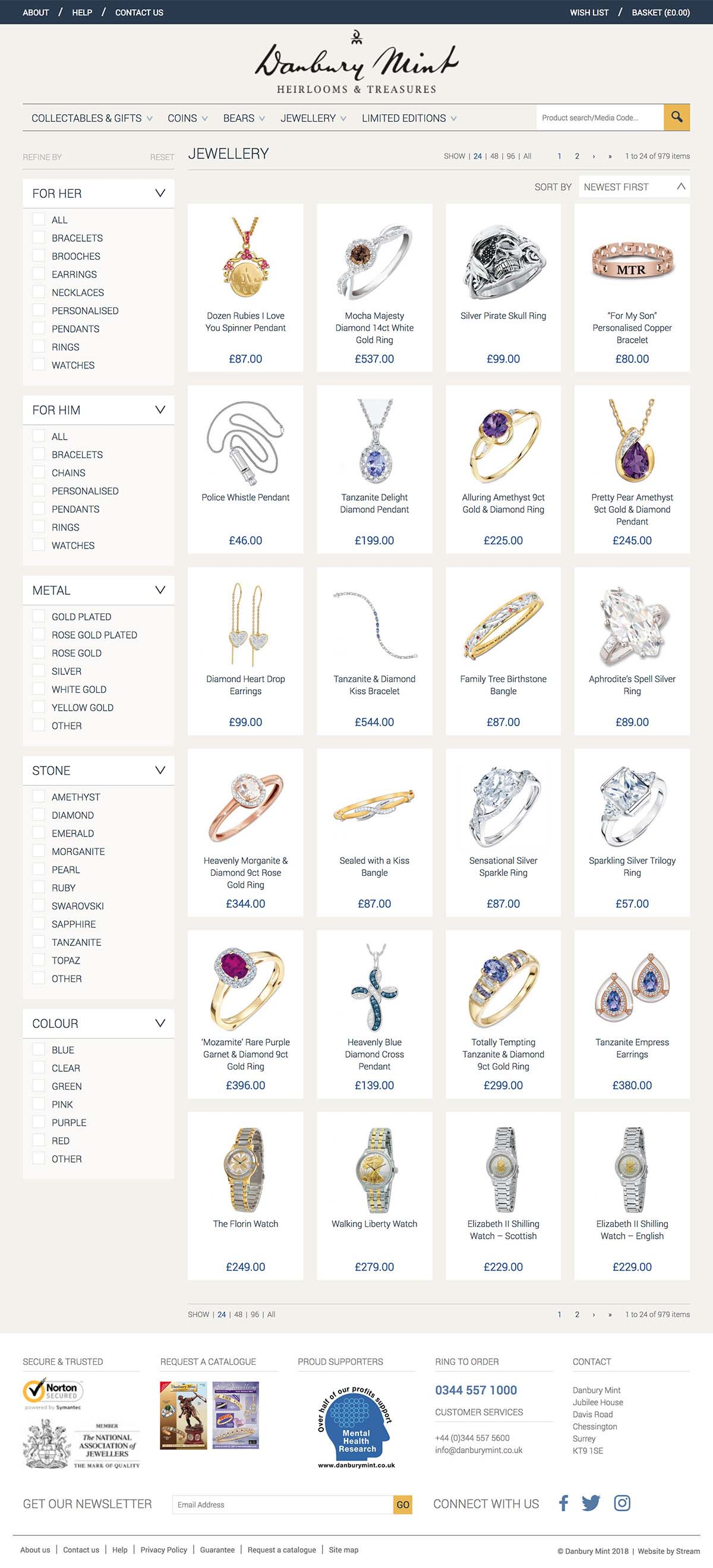 ecommerce jewellery page for Danbury Mint