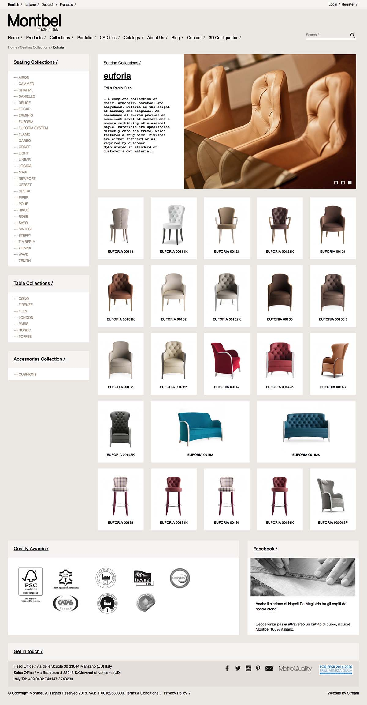 furniture product listing page for Montbel