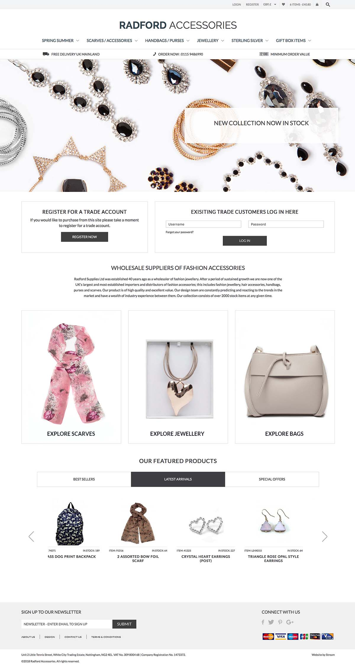 ecommerce homepage for Radford accessories