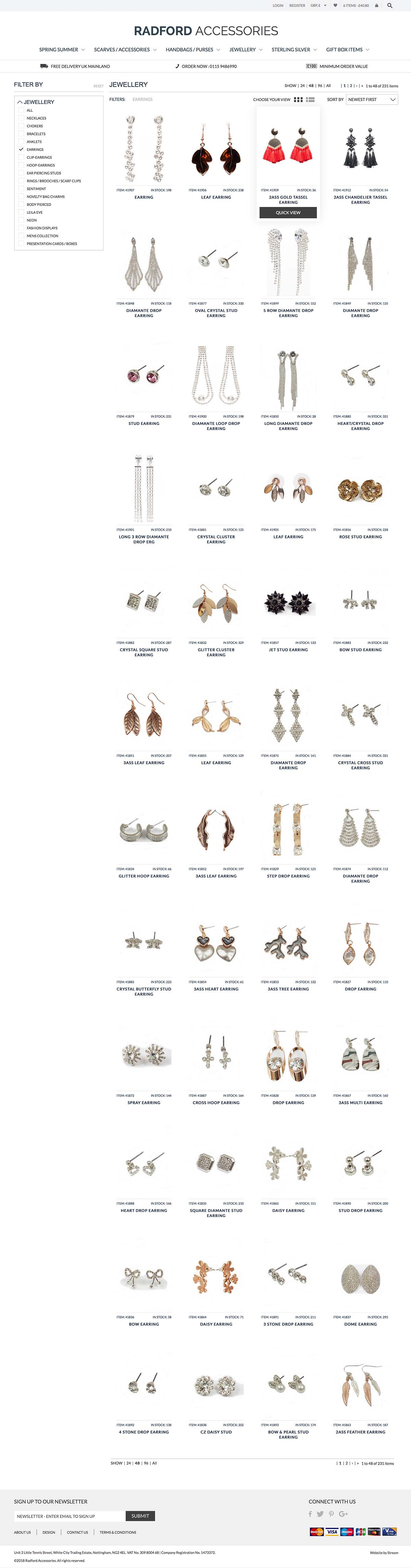Fashion accessories ecommerce website for Radford Accessories