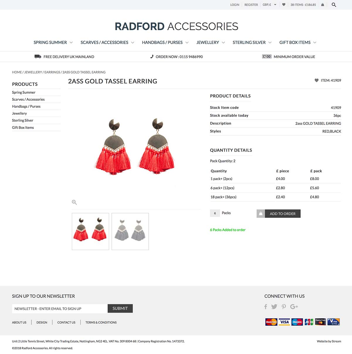 Fashion accessory commerce product page