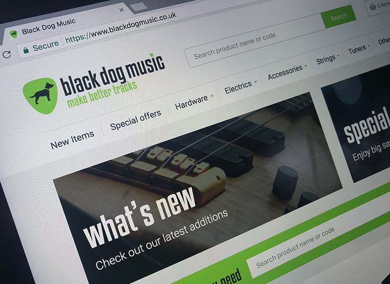 black dog music supplies ecommerce website