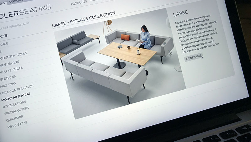product range landing pages for Sandler Seating