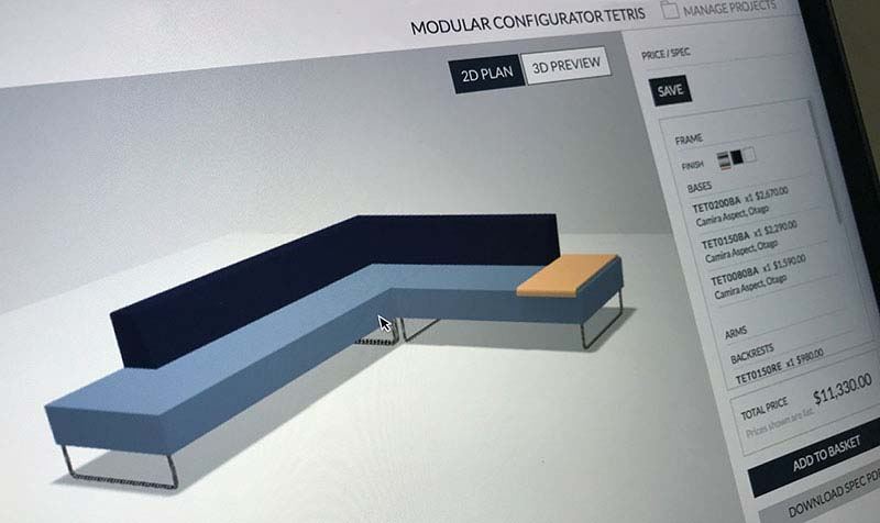 modular furniture configurator for Sandler Seating